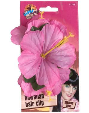 Clamă de păr cu floare hawaiană roz