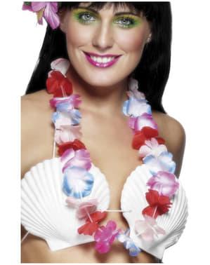 Colar havaiano cor-de-rosa e azul