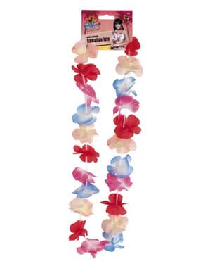 Collar de hawaiana rosa y azul