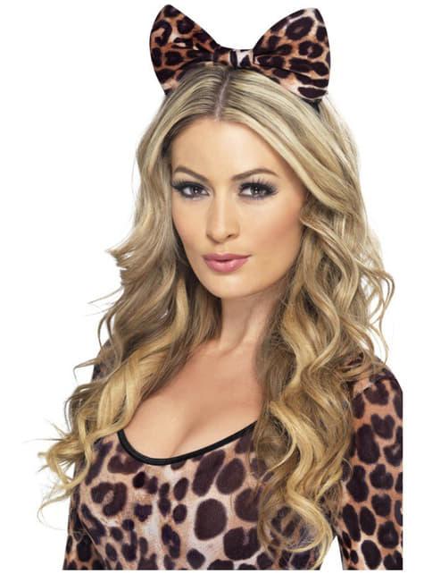 Opaska z kokardą w cętki leoparda