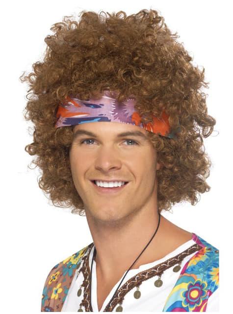 Peluca de hippie afro marrón clásica