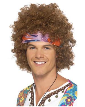 Parrucca hippie afro castana classica