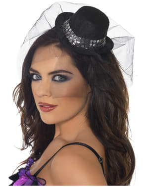 Mini Fever Black Hat on Tiara