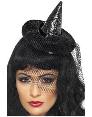 Míni chapéu de bruxa preto