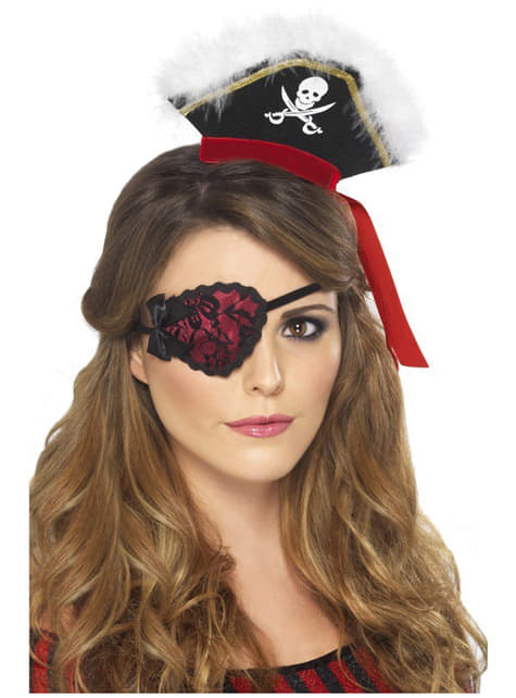 Pirátská páska přes oko červená