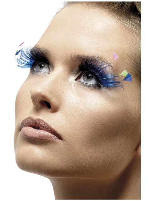 Blue Eyelashes with Feathers