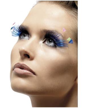 Blaue Wimpern mit Federn