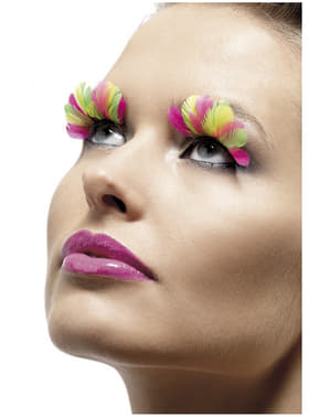 Multicoloured Eyelashes with Feathers
