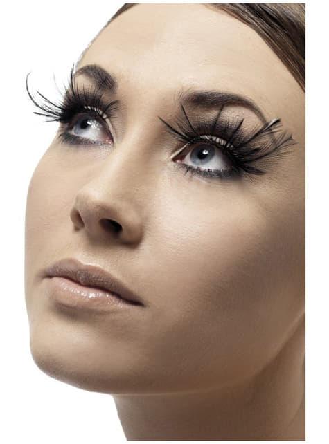 Black Eyelashes with Feathers