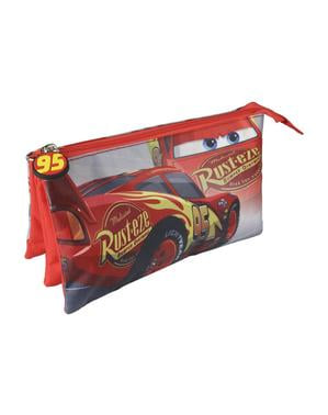 Flat Lightning McQueen pencil case with 3 compartments - Cars 3