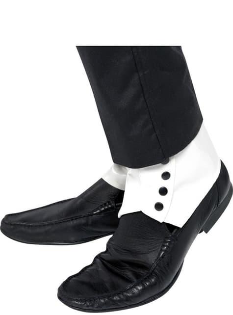 Perneiras brancas com botões pretos