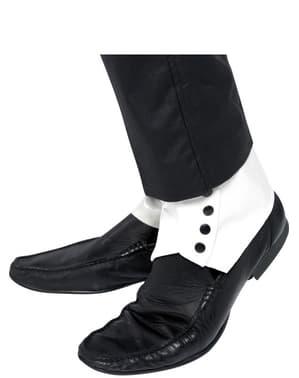 Nakładki na buty białe z czarnymi guzikami