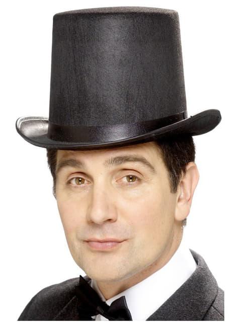 Sombrero de copa negro alto