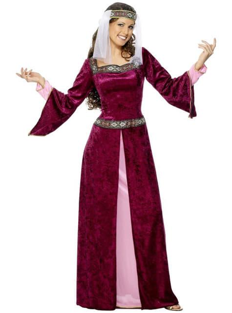 Viininpunainen Marian-neidon asu