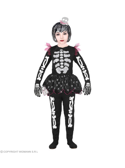Disfraz de esqueleto juguetón para niña
