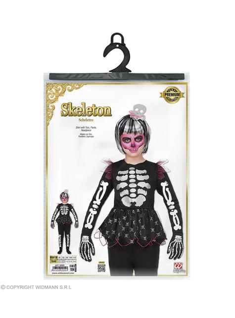 Disfraz de esqueleto juguetón para niña - original