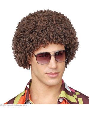 Brun 70er afro paryk til voksne