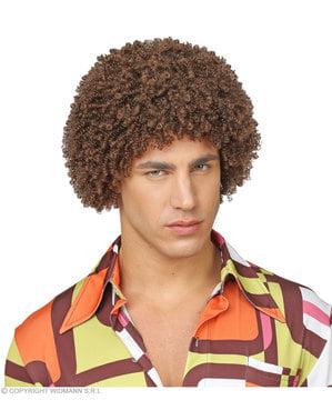 Brun 70's afro parykk til voksne