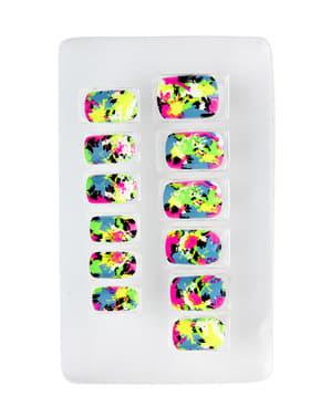 Conjunto de 12 unhas mosaico fluorescentes auto-colantes