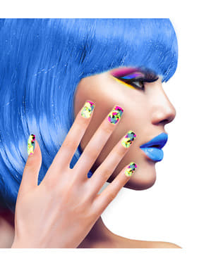 Set de 12 uñas mosaico fluorescentes auto-adhesivas