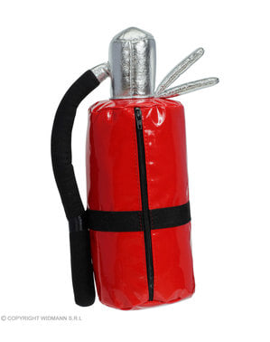 Bag in the shape of a fire extinguisher