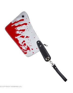 Bolsa com forma de faca ensanguentada