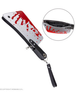Bag in the shape of a bloody knife