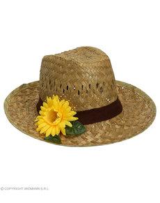 Sombrero de paja con girasol