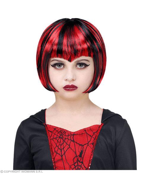 Peluca de vampiresa roja y negra para niña - para tu disfraz