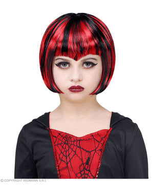 Peruk vampyr röd och svart barn