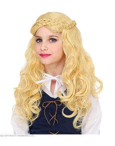 Peluca de dama medieval rubia para niña