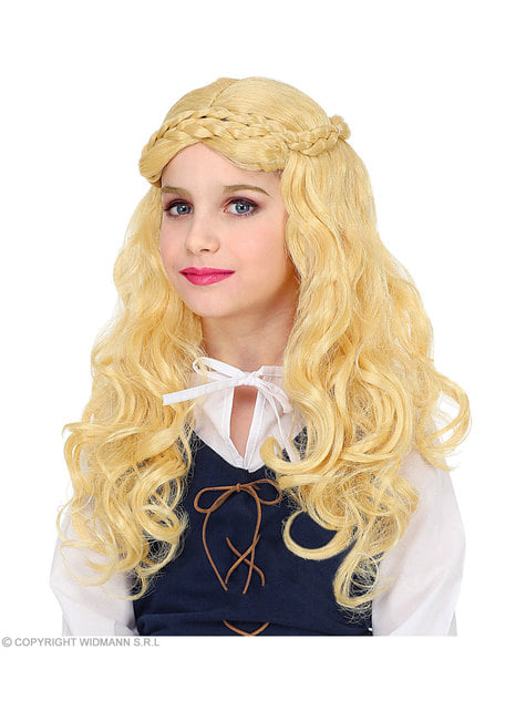 Blonde medieval lady wig for girls