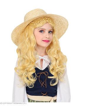 Kızlar için sarışın Ortaçağ bayan peruk