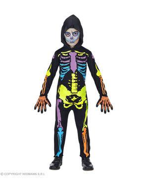 Fato de esqueleto multicolor infantil