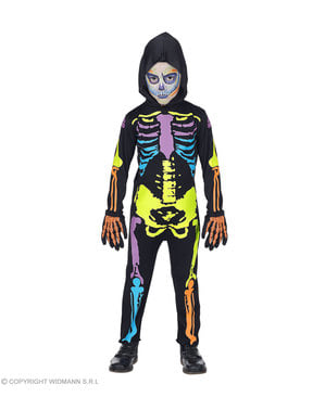 Multikleuren Skelet kostuum voor kinderen