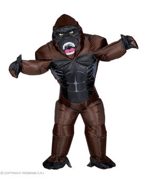 Oppusteligt gorilla konge kostume til voksne