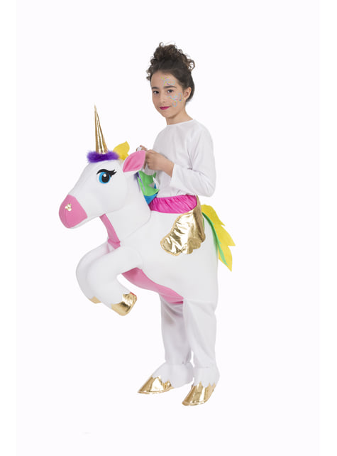 White Unicorn Piggyback Costume for Kids