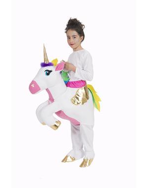 Huckepack Kostüm Einhorn weiß für Kinder