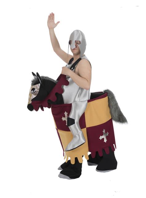 Strój średniowieczny rycerz na koniu ride on dla dorosłych