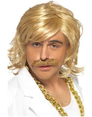 Conjunto de peruca e bigode loiro para homem