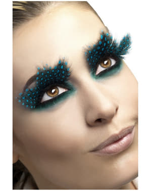 Eyelashes with Blue Feathers