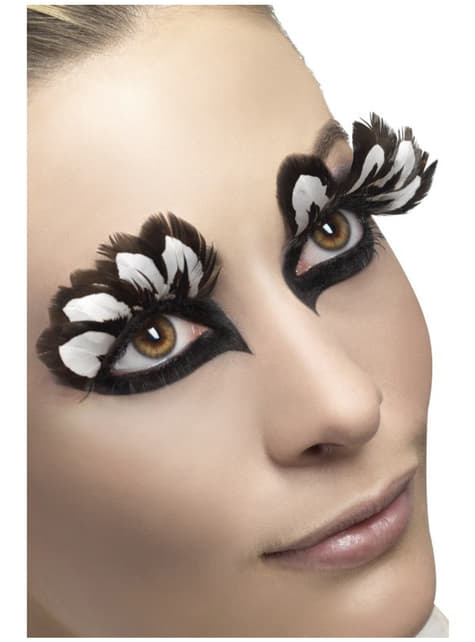 Eyelashes with Black and White Feathers