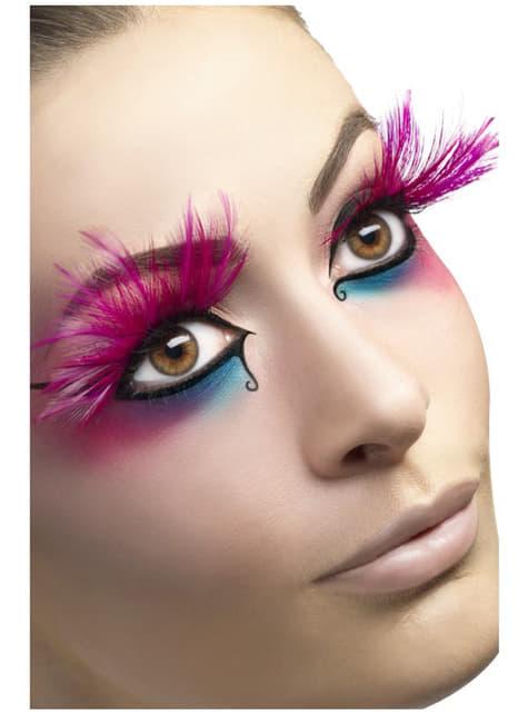 Pinke Wimpern mit Federn