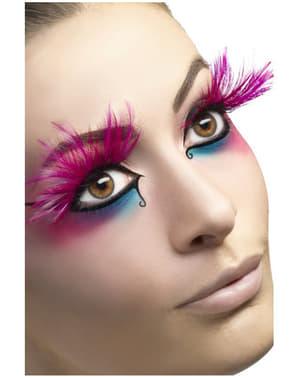 Øjenvipper med pink fjer