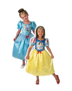 Costum reversibil Albă ca Zăpada și Cenușăreasa pentru fete