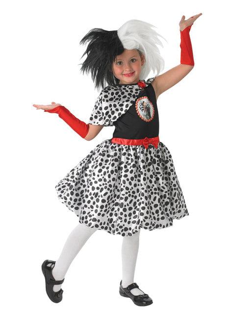 Fato de Cruella de Vil para menina - 101 Dálmatas
