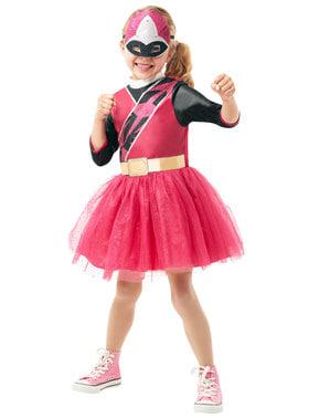 女の子のためのピンクのパワーレンジャーコスチューム - パワーレンジャーニンジャスチール