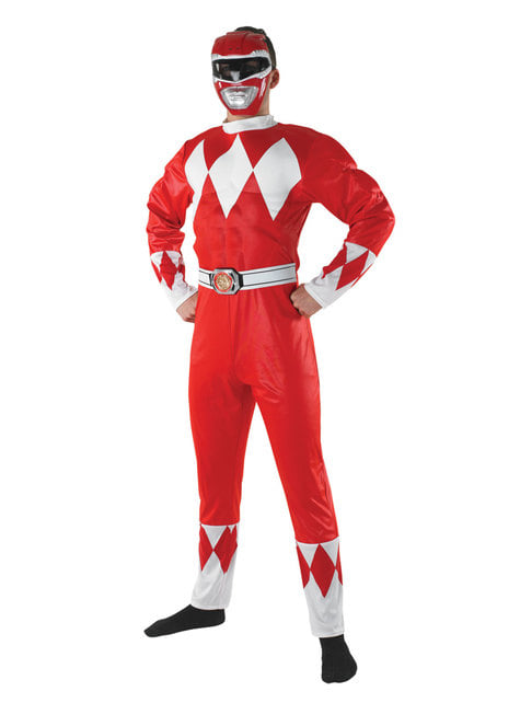 Fato de Power Ranger vermelho para homem - Power Rangers Mighty Morphin