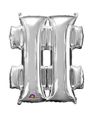 Srebrny balon Hashtag (40cm)