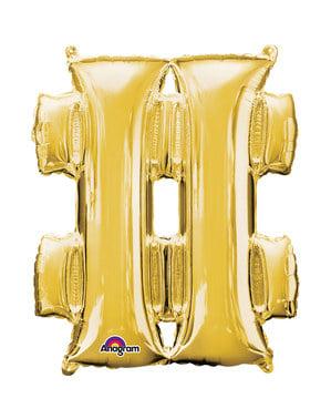 Balão hashtag dourado (40 cm)